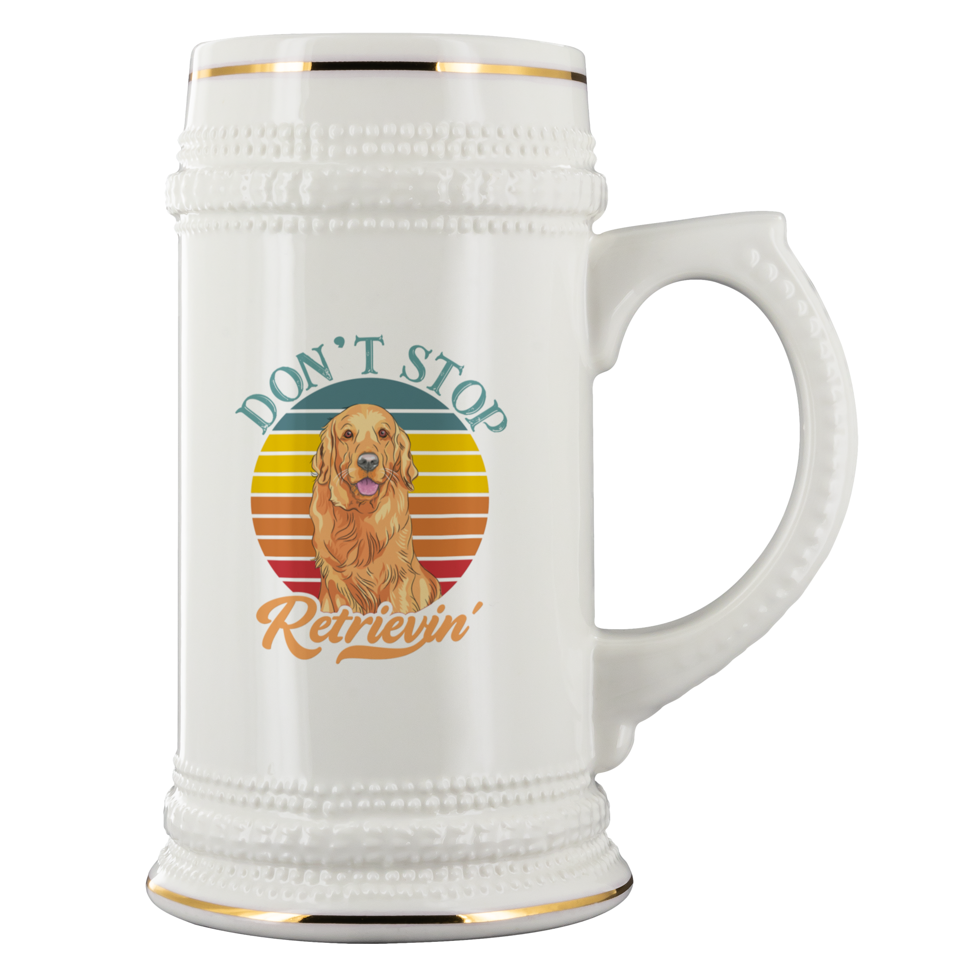Don't Stop Retrievin' Ceramic Beer Stein White 22 oz
