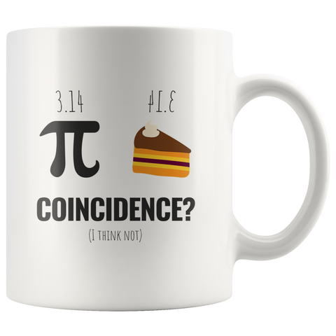 Funny Math Coffee Mug Pi Day March 2019 Pi Pie Coincidence White 110z Coffee Cup