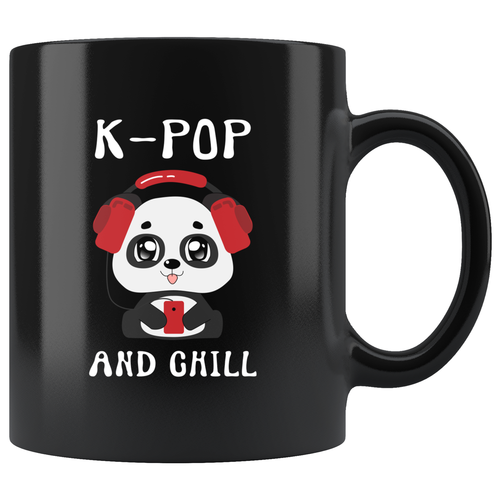 Korean Pop And Chill Kawaii Panda Music Lover Appreciation Gifts Black Mug 11 oz