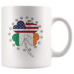 Lucky Shamrock Coffee Mug St Patrick's Day Irish American Flag in Clover Leaf Novelty Gift