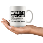 Aviation Cheat Codes Coffee Mug Funny Pilot Gift Idea 11oz