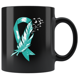 Cervical Cancer Teal Ribbon Awareness Gift Ceramic Coffee Mug 11 oz