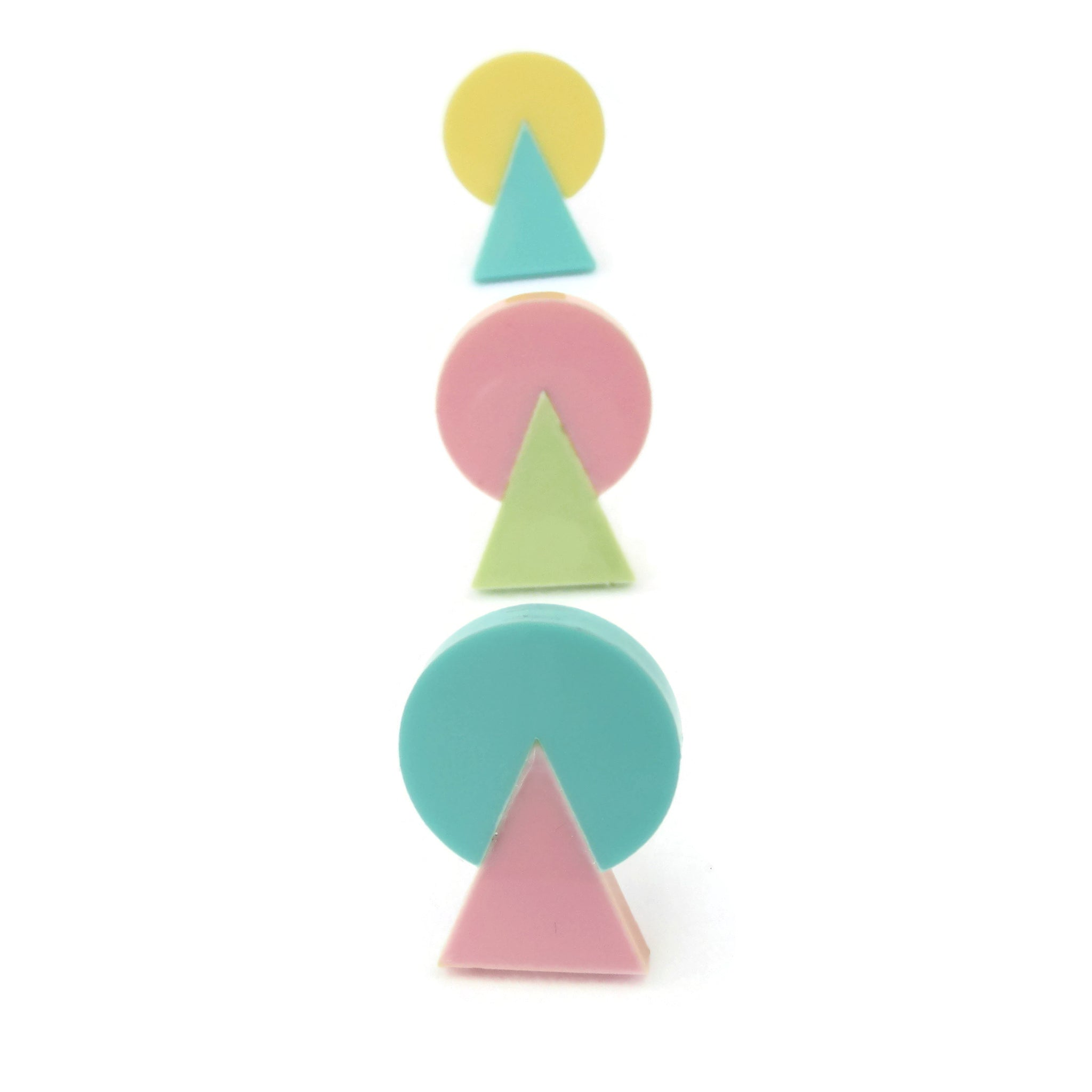 80's Shapes earrings, acrylic studs in contrasting pastel