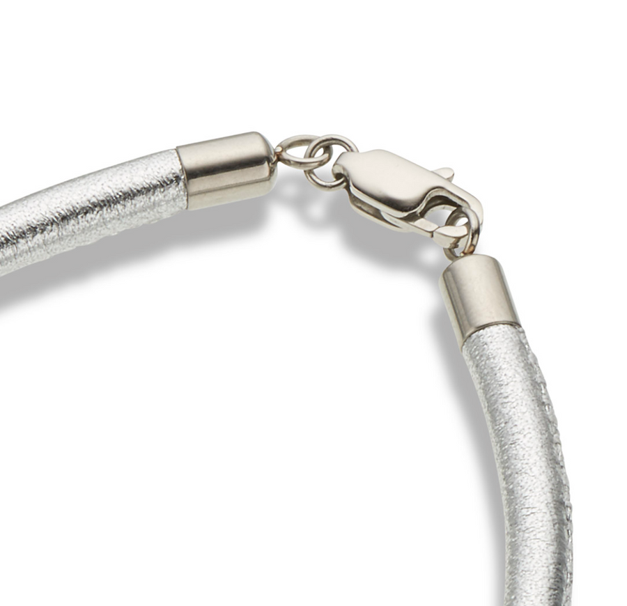 Palas Silver Leather Fine Bracelet
