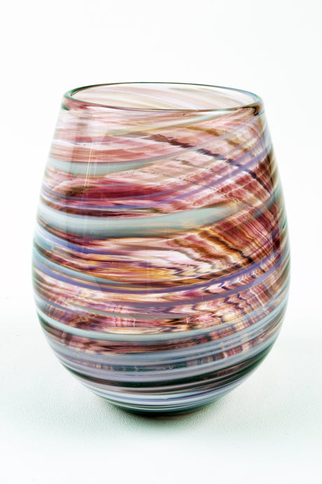 Swirl Stemless Wine Glass in Purple