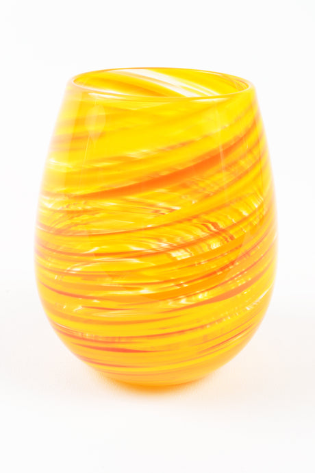 Swirl Stemless Wine Glass in Yellow