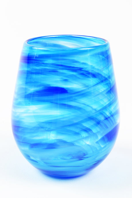 Swirl Stemless Wine Glass in Blue