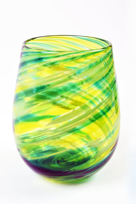 Swirl Stemless Wine Glass in Green