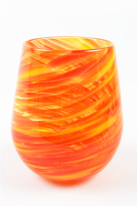 Swirl Stemless Wine Glass in Orange