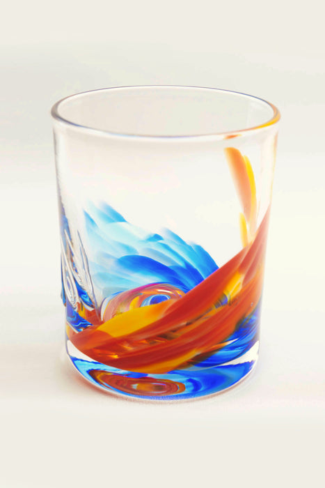 Tye-Dye Highball Glass in Orange/Blue