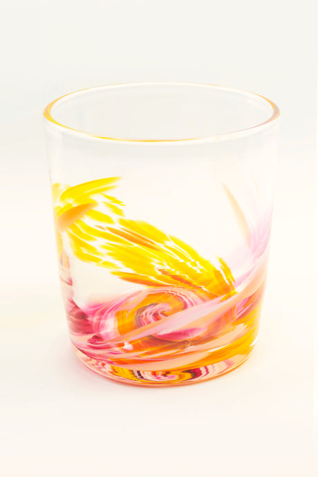 Tye-Dye Highball Glass in Yellow/Pink(pre-order item)