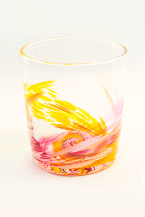 Tye-Dye Highball Glass in Yellow/Pink