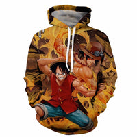 Monkey D. Luffy and Portgas D. Ace Printed Hoodie - One Piece Gears