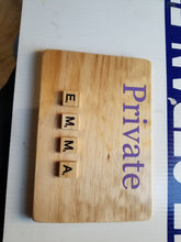 Private EMMA Room Sign with Scrabble tiles
