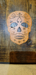 Sugar Skull walnut recovered pallet board Handmade