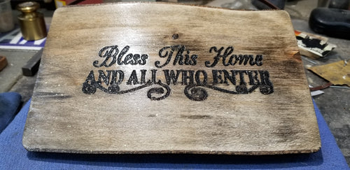 Live Slab Bless This Home house warming plaque