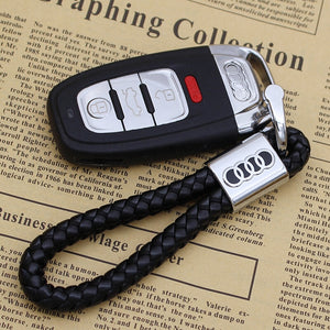 Metal keychain car logo keychain key ring key holder leather key chains for Audi
