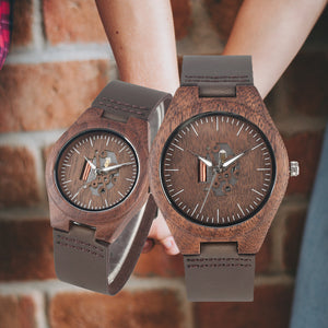 Coffee Brown Lovers Wood Watch Creative Arts Hollow Couple Timepiece Casual Men's Genuine Leather Watches Lady Wristwatches Gift