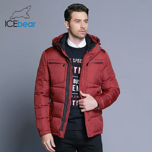 ICEbear 2019 Mens Winter Solid Parka Warm Jackets Simple Hem Practical Waterproof Zipper Pocket High Quality Parka B17MD940D