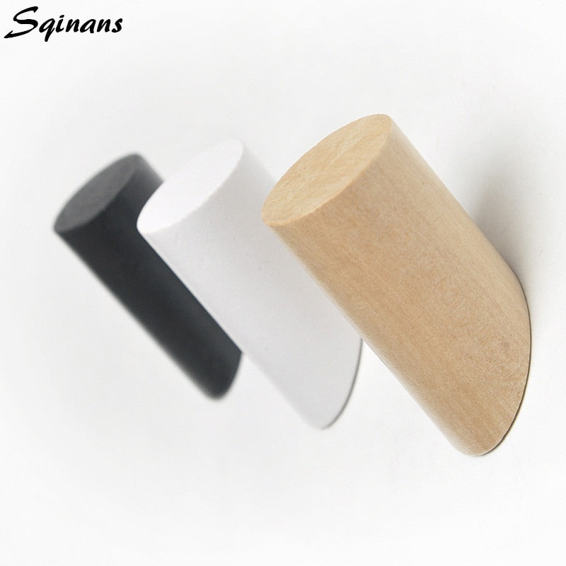 Sqinans Natural Wood Clothes Hanger Wall Mounted Coat Hook Decorative Key Holder Hat Scarf Handbag Storage Hanger Bathroom Rack