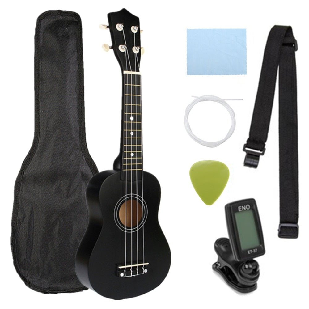 Ukulele Combo 21 Ukulele Black Soprano 4 Strings Uke Hawaii Bass Stringed Musical Instrument Set Kits+Tuner+String+Strap+Bag