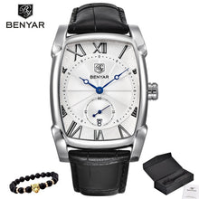 Benyar Watches Men Luxury Brand Quartz Mens Wist watches Military Leather Strap Casual Square Watch Waterproof Reloj de hombre
