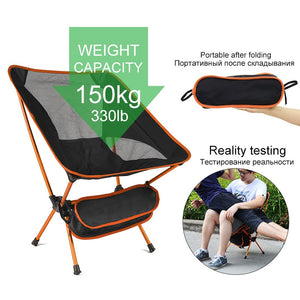 Travel Ultralight Folding Chair Superhard High Load Outdoor Camping Chair Portable Beach Hiking Picnic Seat Fishing Tools Chair