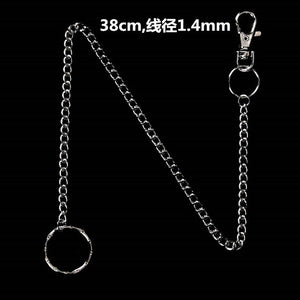 18/38/65cm Rock Punk  Long Metal Wallet Belt Chain Trousers Hipster Pant Jean Keychain Silver Ring Clip Keyring HipHop Jewelry