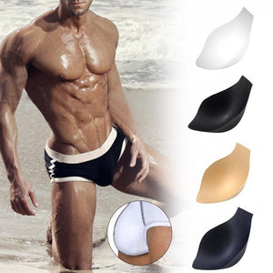 2PCS Men Swimming Trunks Underwear Briefs Sponge Protective Pad Swimsuit Enlarge Penis Pouch Pad Inside Front Protection Pad