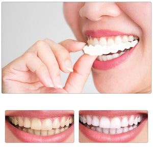 1pair Fake Teeth Upper False Fake Tooth Cover Snap On Immediate Teeth Cosmetic Denture Care Oral Care Plastic Whitening Denture