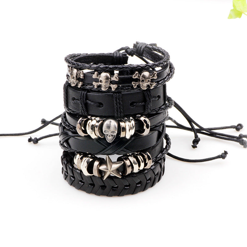 6pcs/set Leather Bracelet Multilayer Punk Skull