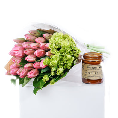 Tulip and Lisianthus with Scented Candle Special Offer
