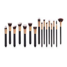 Load image into Gallery viewer, Glamza 16pc Kabuki Make Up Brush Set - Black and Gold