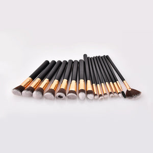 Glamza 16pc Kabuki Make Up Brush Set - Black and Gold