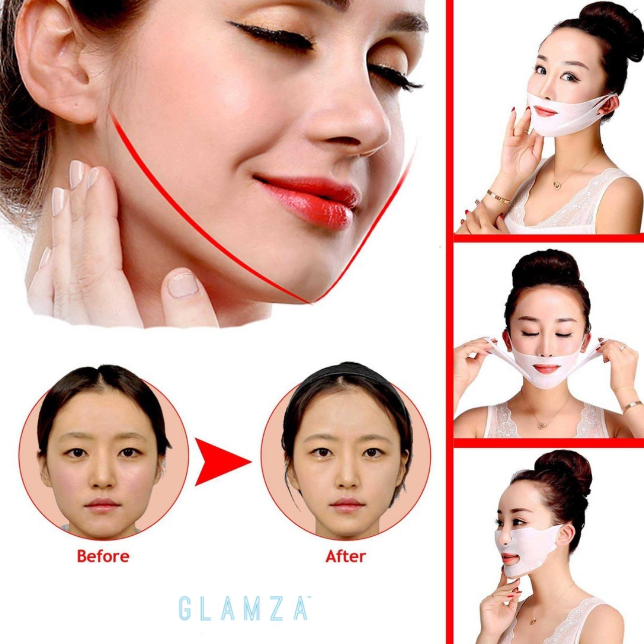 Glamza Double 'V Line' Face Firming Mask by  Beauty Pop Cosmetics