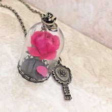 Load image into Gallery viewer, Beauty and Beast Inspired Red Rose in Dome Pendant Necklace