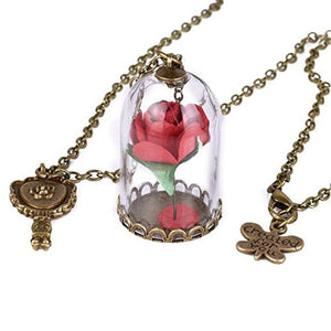Beauty and Beast Inspired Red Rose in Dome Pendant Necklace