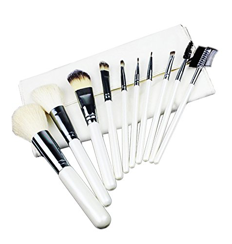 10 Piece White & Chrome Silver Makeup Brush Set