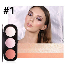 Load image into Gallery viewer, 3 Colour Blusher Highlighter Palette