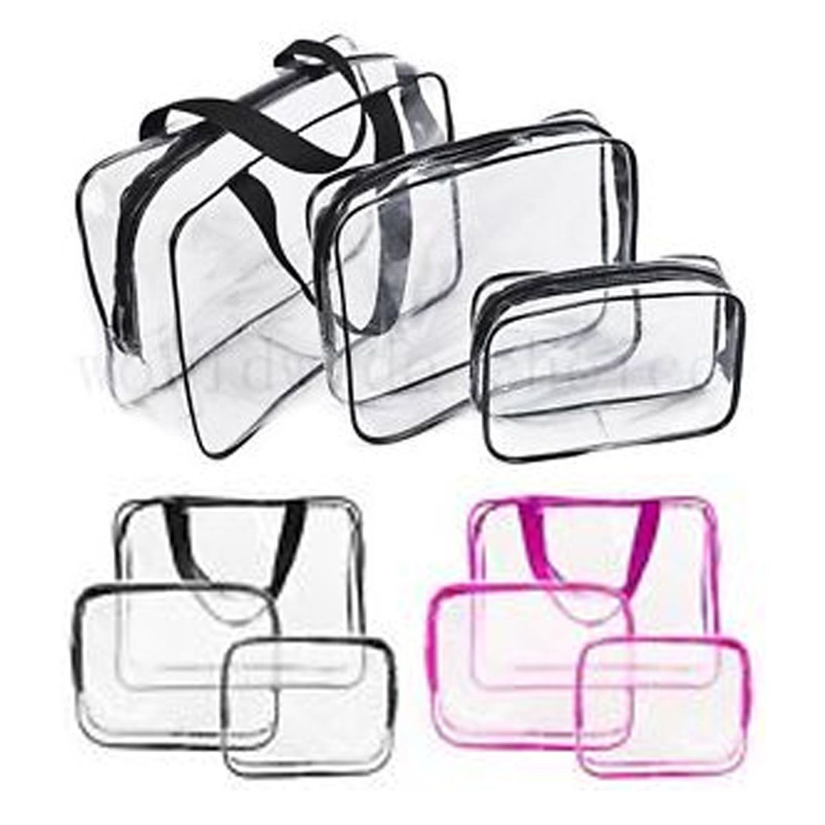 Glamza 3 Set PVC Clear Travel Bags Pink by  Beauty Pop Cosmetics