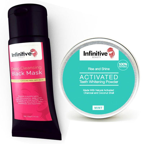 Infinitive Beauty Charcoal Blackhead Black Peel Mask & Teeth Whitening Powder