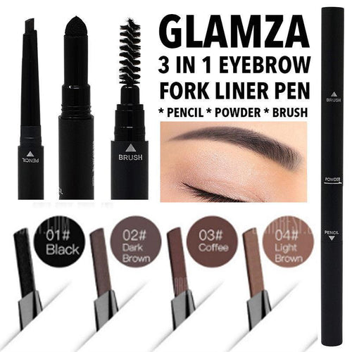 Glamza 3 in 1 Eyebrow Fork Liner Pen