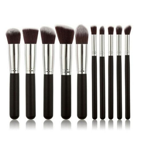 Glamza 10PC Black Silver Makeup Brushes Set, Makeup Brushes by Beauty Pop Cosmetics