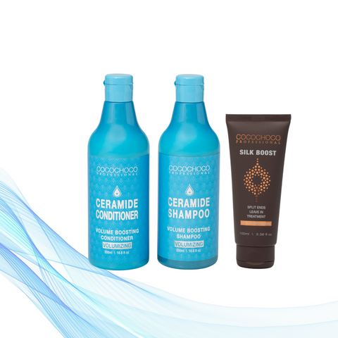 Cocochoco Ceramide Šampon  šampon za volumen 500 ml + Regenerator 500 ml + Cocochoco Silk Boost Split ends leave-in tretman 100 ml