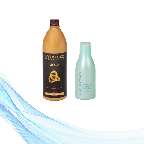 Cocochoco GOLD keratin 1000 ml + Clarifying šampon 400 ml