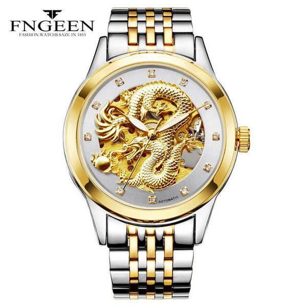 3D Carving Skeleton Stainless Steel Strap Transparent Case Hollow Gold Watches Top Brand Luxury Automatic Mechanical