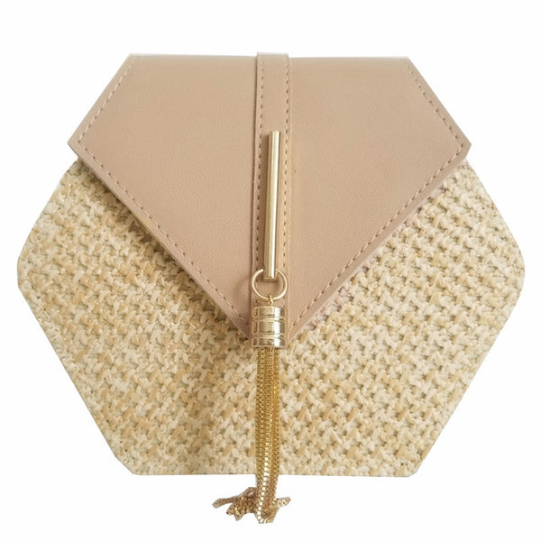 Stylish leather Handbag Women Summer Rattan Bag Handmade Woven Beach Circle Bohemia Shoulder Bag New Fashion