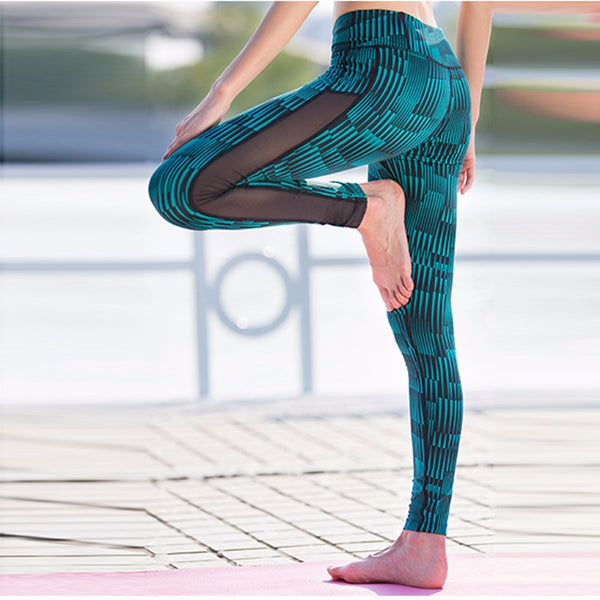 Fashion New Stripe Mesh Patchwork Women Pants Sporting Leggings Fitness Summer Print Dry Quick Force Exercise Pants For Women