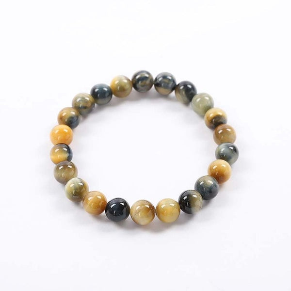 High Quality Blue Yellow Rose Red Golden Green Tiger Eye Buddha Bracelets Natural Stone Round Beads Elasticity Rope Men Women