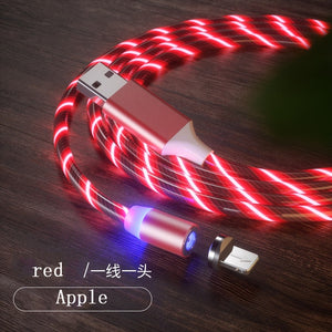 1m Magnetic charging Mobile Phone Cable USB Type C Flow Luminous Lighting Data Wire for iphone Samaung Huawei LED Micro Kable